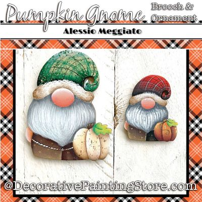 Pumpkin Gnome (C) Brooch and Ornament Painting Pattern PDF DOWNLOAD - Alessio Meggiato