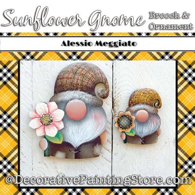 Sunflower Gnome (D) Brooch and Ornament Painting Pattern PDF DOWNLOAD - Alessio Meggiato