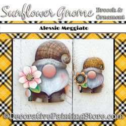 Sunflower Gnome Brooch and Ornament Painting Pattern PDF DOWNLOAD - Alessio Meggiato