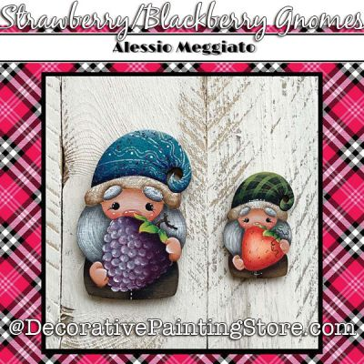 Strawberry/Blackberry Gnomes (E) Brooch and Ornament Painting Pattern PDF DOWNLOAD - Alessio Meggiato