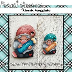 Pencil Gnomes (I) Brooch and Ornament Painting Pattern PDF DOWNLOAD - Alessio Meggiato