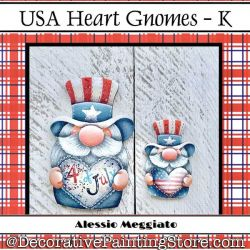 USA Heart Gnomes (K) Brooch and Ornament Painting Pattern PDF DOWNLOAD - Alessio Meggiato