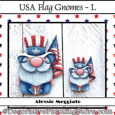 USA Flag Gnomes (L) Brooch and Ornament Painting Pattern PDF DOWNLOAD - Alessio Meggiato