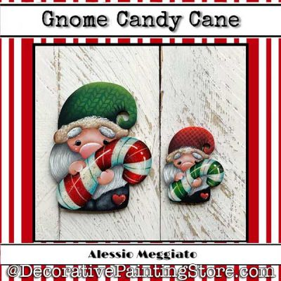 Gnome Candy Cane (N) Brooch and Ornament Painting Pattern PDF DOWNLOAD - Alessio Meggiato
