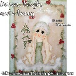 Berries Boughs and a Bunny Painting Pattern PDF DOWNLOAD - Deb Mishima