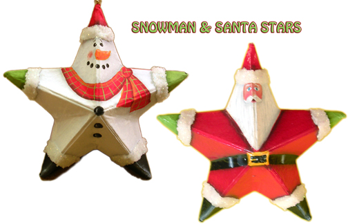Snowman & Santa Star Ornaments e-Pattern DOWNLOAD