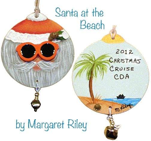 Santa at the Beach Ornament Pattern DOWNLOAD