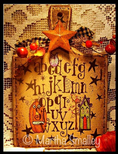 Halloween Sampler Bread Board e-Pattern - Martha Smalley - PDF DOWNLOAD
