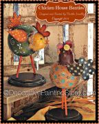 Chicken House Banties Painted Gourds Cover Pattern - Martha Smalley - PDF DOWNLOAD
