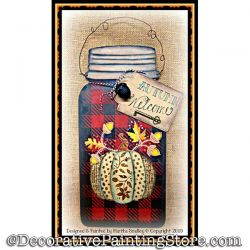 Autumn Welcome Mason Jar DOWNLOAD Painting Pattern - Martha Smalley