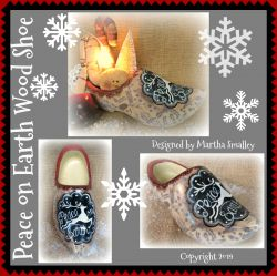 Peace on Earth Wooden Shoe (Reindeer) DOWNLOAD Painting Pattern - Martha Smalley