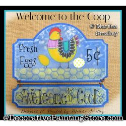 Welcome to the Coop (Chicken Sign) DOWNLOAD Painting Pattern - Martha Smalley