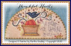 Thankful Hearts Door Crown (Crow and Pumpkin) Painting Pattern DOWNLOAD - Martha Smalley