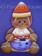 Trick or Treat Candy Corn Gingerbread Ornament Blank