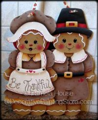 Be Thankful Gingerbread Pilgrims Wall Hanging ePattern by Pamela House - PDF DOWNLOAD