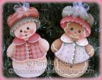 Snowgirl and Ginger Ornament-Magnet or Pin by Pamela House - PDF DOWNLOAD