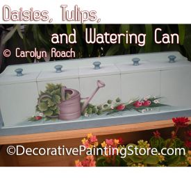 Daisies Tulips Watering Can ePattern - Carolyn Roach - PDF DOWNLOAD