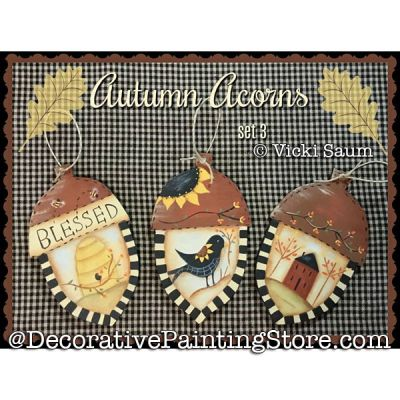 Autumn Acorns Set 3 Painting Pattern PDF DOWNLOAD - Vicki Saum