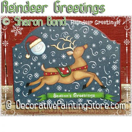 Reindeer Greetings ePattern - Sharon Bond - PDF DOWNLOAD
