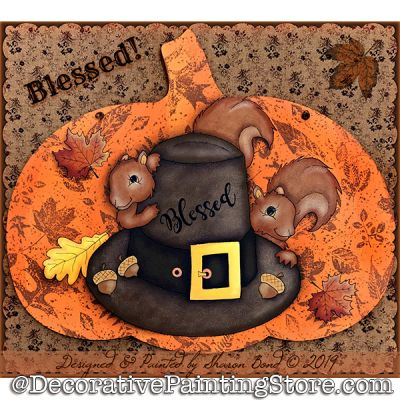 Blessed (Squirrels and Pilgrim Hat) DOWNLOAD  - Sharon Bond