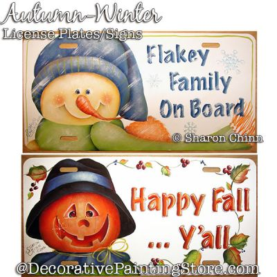 Fall & Winter License Plate Painting Pattern PDF DOWNLOAD - Sharon Chinn