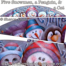 Five Snowmen A Penguin and A Cat Door Crown Booklet By Mail- Sharon Chinn