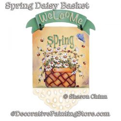 Spring Daisy Basket Banner Painting Pattern PDF Download - Sharon Chinn
