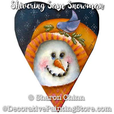 Shivering Sam Snowman Prim Heart By Mail - Sharon Chinn
