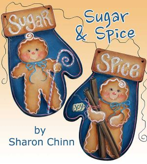 Sugar and Spice Ginger Mitten Ornaments Painting Pattern BY MAIL - Sharon Chinn
