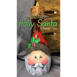 Holly Santa Candle Stand ePattern by Sharon Chinn - BY DOWNLOAD