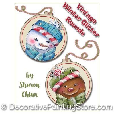 Vintage Winter Glitter Ornaments Painting Pattern BY MAIL- Sharon Chinn