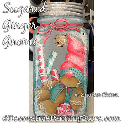 Sugared Ginger Gnome Mason Jar Painting Pattern BY MAIL - Sharon Chinn
