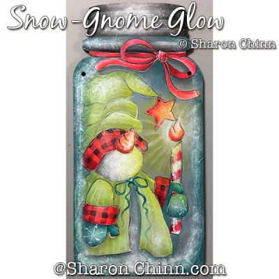 Sno-Gnome Glow Mason Jar DOWNLOAD Painting Pattern - Sharon Chinn