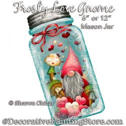 Frosty Love Gnome Mason Jar DOWNLOAD Painting Pattern - Sharon Chinn