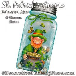 St. Patricks Gnome Mason Jar DOWNLOAD Painting Pattern - Sharon Chinn