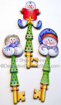 Snowy Delights Key Ornaments Pattern - Sharon Chinn - BY MAIL