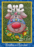 Wreaths and Reindeer Pattern - Sharon Cook - PDF DOWNLOAD