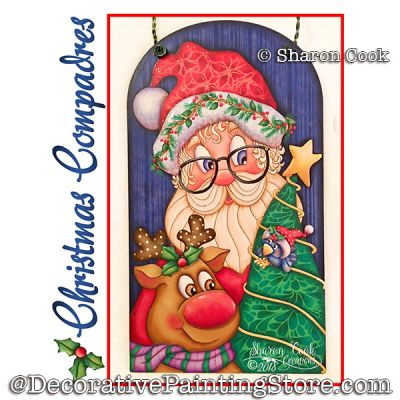 Christmas Compadres (Santa and reindeer) DOWNLOAD Painting Pattern - Sharon Cook