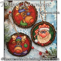 Timber Trimmings (Santa and reindeer) DOWNLOAD Painting Pattern - Sharon Cook