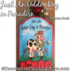 Just an Udder Day in Paradise (cow) DOWNLOAD Painting Pattern - Sharon Cook