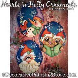 Hearts n Holly Ornaments Painting Pattern PDF DOWNLOAD - Sharon Cook