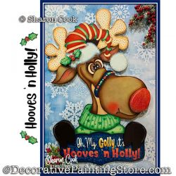 Hooves n Holly (Reindeer) Painting Pattern PDF DOWNLOAD - Sharon Cook