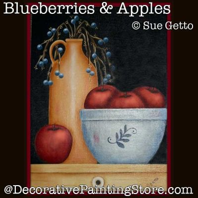 Blueberries and Apples DOWNLOAD Painting Pattern - Sue Getto