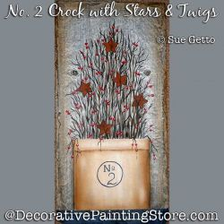 No 2 Crock with Stars and Twigs DOWNLOAD Pattern - Sue Getto