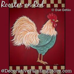 Rooster on Red DOWNLOAD Pattern - Sue Getto