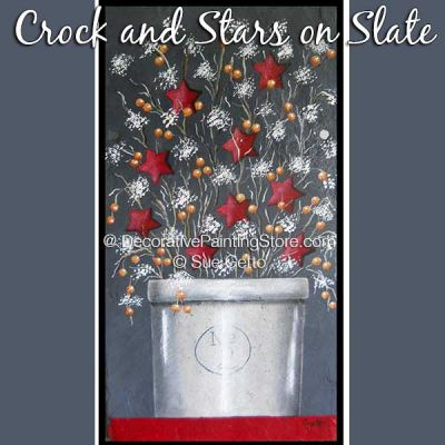 Crock and Stars on Slate DOWNLOAD Pattern - Sue Getto