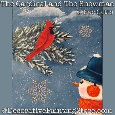 The Cardinal and the Snowman DOWNLOAD Painting Pattern - Sue Getto