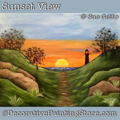 Sunset View Landscape DOWNLOAD Painting Pattern - Sue Getto