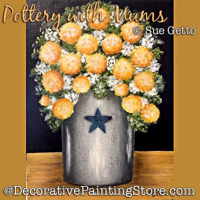 Pottery with Mums DOWNLOAD Painting Pattern - Sue Getto