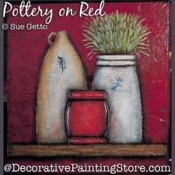 Pottery on Red DOWNLOAD Painting Pattern - Sue Getto